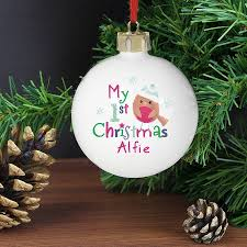 personalised 1st christmas robin bauble by hope and willow