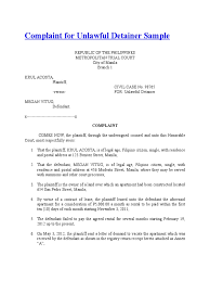 Notice To Vacate Apartment Letter Complaint For Unlawful Detainer Sample Lawsuit Complaint
