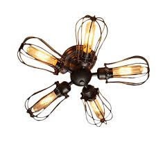 industrial looking ceiling fans 5 heads e27 edison industrial american country loft warehouse