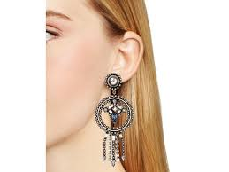dannijo earrings dannijo faustina catcher earrings in metallic lyst