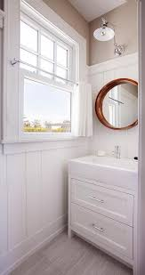 white dresser like washstand with wood convex mirror cottage
