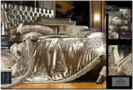 Silk Comforters Mulberry Silk Satin Jacquard Luxury Bedding Comforter Set Khaki