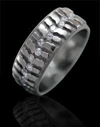 tire wedding rings tire tread titanium ring with diamonds men s rings