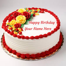 write name on happy birthday rose cake for love
