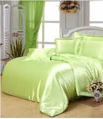Silk Duvet Cover Queen Yellow Green Satin Silk Bedding Set Super King Size Queen Full