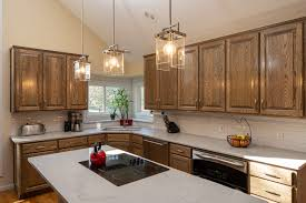 are golden oak cabinets coming back in style a kitchen remodel with refinished golden oak cabinets the