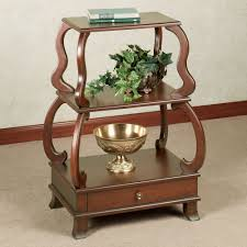 Cherry Wood Shelves by Black Corner Accent Table With Single Drawer Display Space On The