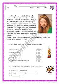 printable reading comprehension test english worksheets reading comprehension test worksheet family