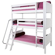 Maxtrix MOLY Triple Bunk Bed In White With Panel Bed Ends - Triple bunk bed wooden
