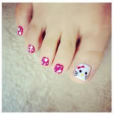 hello kitty toe nail art nail art pinterest pedicures cute