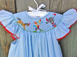 circus smocked dress with clown elephant light blue