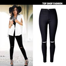 european styles 2016 new brand high waisted stretch black women jeans hole