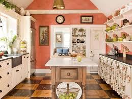white kitchen cabinets orange walls orange white checkered wooden country kitchen