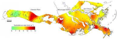 louisiana elevation map map highlights sinking louisiana coast