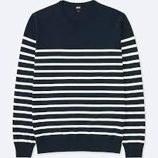 men washable striped crewneck long sleeve sweater uniqlo us