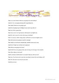conversation about planning holidays worksheet free esl