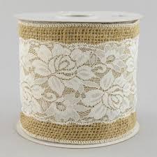 ribbon lace 5 burlap white lace ribbon 10 yards rn4734 craftoutlet