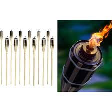 matney bamboo torches set of 12 includes metal oil canisters
