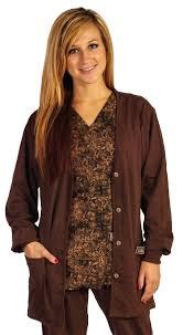 crazee wear designer scrub jacket brown