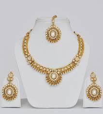 gold plated polki wedding imitation jewellery set indian wear