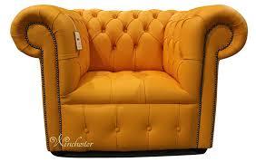 Orange Armchair Chesterfield Low Back Club Armchair Buttoned Seat Mandarin Orange