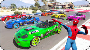 colors race cars for kids in spiderman cartoon colors for
