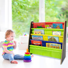 toddler bookshelf espresso bright primary colors pockets