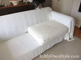 How To Clean Linen Sofa How To Cover A Chair Or Sofa With A Loose Fit Slipcover In My