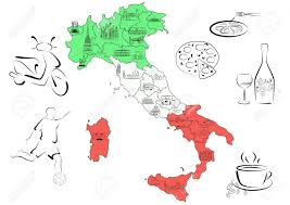 Regional Map Of Italy by Vector Drawn Map Of Italy Divided By Regions With Main Sights