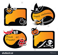 set of vintage happy halloween labels and stickers witch owl