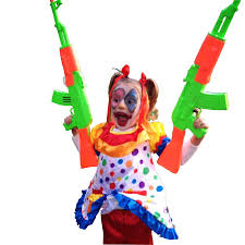 little dressed like a clown with toy guns 960x960 cutouts
