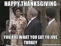 happy thanksgiving you are what you eat yo jive turkey