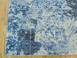 Modern Blue Rugs 2 X3 Abstract Design Wool And Silk Knotted Modern