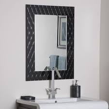 bathroom ideas black decorative framed mirror over white vanity