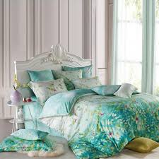 Forest Bedding Sets Teal Blue Green And White Forest Tree Top Print 100 Tencel