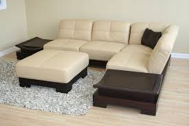 Modern Chaise Lounge Sofa by Beige And Brown Leather Fabric Sectional Sofa With Chaise