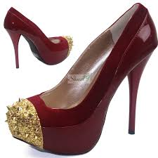 qupid neutral 284 red spikes studs front platform shoes
