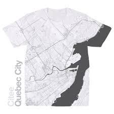 World Map T Shirt by Citee Fashion Quebec City Map T Shirt