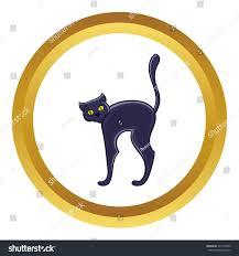 pet halloween background halloween black cat vector icon golden stock vector 525170545