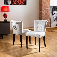 luxury set of 2 low back fabric dining chairs silver grey scroll