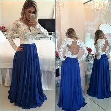 white lace royal blue skirt long prom dresses long sleeves v neck
