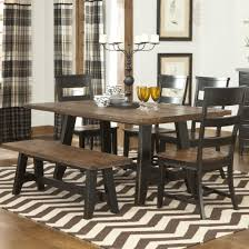 dining room cool natural teak woods dining table with bench on