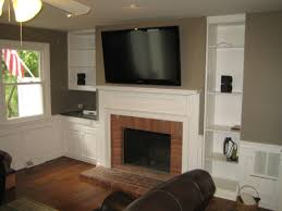 Living Room Red Brick Fireplace Mounting Tv Above Fireplace
