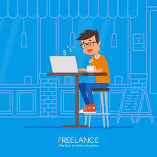 design home office online male freelancer working remotely from his desk vector illustration