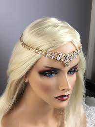 forehead headband bridal gold leaf rhinestone headband deco tiara forehead