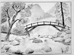 sketches of landscapes cross the bridge mountain stream sketch