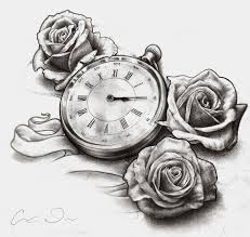clock pocket watch and roses tattoo designs in 2017 real photo