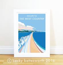 escape to the west country vintage style retro quote poster and