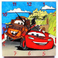 Home Decor Hours by Wall Clock 12 Hours Quartz Stained Glass Paint Cartoon Cars