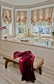 Window Treatment Ideas For Bathroom Furniture Luxury Bathroom With Oval Luxury Bathtub Near Brown